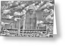 Cincinnati Ballpark Clouds Bw Greeting Card by Mel Steinhauer