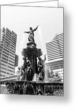 Cincinnati Fountain Black And White Picture Greeting Card by Paul Velgos