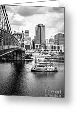 Cincinnati Riverfront Black And White Picture Greeting Card by Paul Velgos