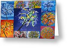 Circle Tree Collage Greeting Card by Cathy Jacobs