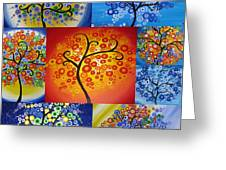 Circle Trees Greeting Card by Cathy Jacobs