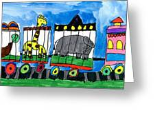 Circus Train Greeting Card by Max Kaderabek Age Eight