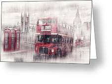City-Art LONDON Westminster Collage II Greeting Card by Melanie Viola