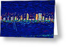 City At Night Greeting Card by Anand Swaroop Manchiraju