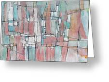 City In Peach And Turquoise Greeting Card by Hari Thomas