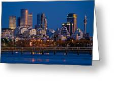 city lights and blue hour at Tel Aviv Greeting Card by Ron Shoshani