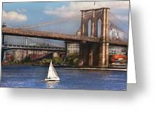 City - NY - Sailing under the Brooklyn Bridge Greeting Card by Mike Savad