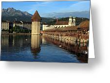 City Of Lucerne In Switzerland Greeting Card by Ron Sumners