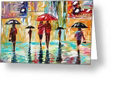 City Rain Greeting Card by Karen Tarlton
