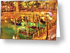 City - Vegas - Venetian - The Venetian At Night Greeting Card by Mike Savad