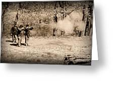 Civil War Soldiers Firing Muskets Greeting Card by Paul Ward