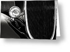 Classic Car Grille Black And White Greeting Card by M K  Miller