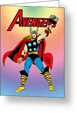 Classic Mighty Thor Greeting Card by Mista Perez Cartoon Art