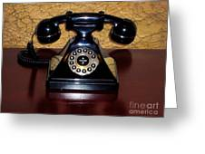 Classic Rotary Dial Telephone Greeting Card by Mariola Bitner