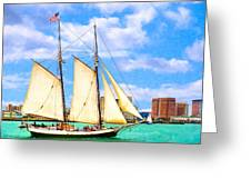 Classic Tall Ship In Boston Harbor Greeting Card by Mark Tisdale