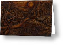 Clatsop Coyote God Italapas Greeting Card by Carlo Olkeriil