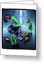 Cleanup The Alien Pigs Greeting Card by Star  Mudersbach
