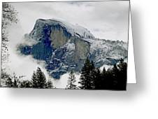 Clearing Storm Around Half Dome Greeting Card by Bill Gallagher