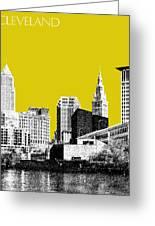 Cleveland Skyline 3 - Mustard Greeting Card by DB Artist
