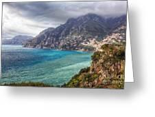 Cliffs Of Amalfi Coastline  Greeting Card by George Oze