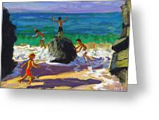 Climbing Rocks Porthmeor Beach St Ives Greeting Card by Andrew Macara