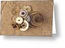 Clockwork Mechanism On The Sand Greeting Card by Michal Boubin