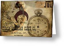 Clockworks Greeting Card by Fran Riley