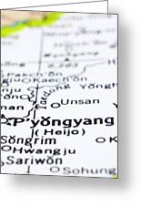 close up of Pyongyang on map-North Korea Greeting Card by Tuimages
