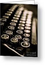 Close Up Vintage Typewriter Greeting Card by Edward Fielding