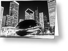Cloud Gate Chicago Bean Black And White Picture Greeting Card by Paul Velgos