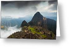 Clouds About To Envelop Machu Picchu Greeting Card by Alison Buttigieg