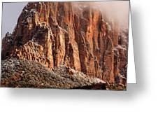 Clouds Clearing The Watchman Zion National Park Utah Greeting Card by Robert Ford