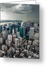 cloudy Manhattan Greeting Card by Hannes Cmarits