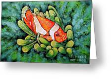 Clown In The Anemone Greeting Card by Linda Simon