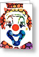 Clownin Around - Funny Circus Clown Art Greeting Card by Sharon Cummings