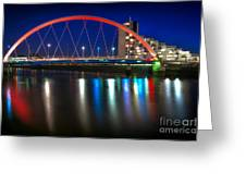 Clyde Arc Glasgow At Night Greeting Card by John Farnan