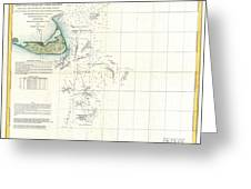 Coast Survey Map of Nantucket and the Davis Shoals Greeting Card by Paul Fearn