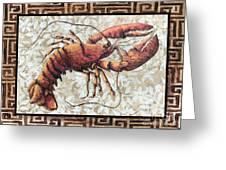 Coastal Lobster Decorative Painting Greek Border Design By Madart Studios Greeting Card by Megan Duncanson
