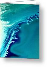 Coastal Surf Blue Abstract Waves By Kredart Greeting Card by Serg Wiaderny