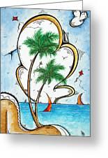 Coastal Tropical Art Contemporary Sailboat Kite Painting Whimsical Design Summer Daze By Madart Greeting Card by Megan Duncanson