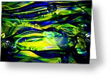 Cobalt Blue And Yellow Glass Macro Abstact Greeting Card by David Patterson
