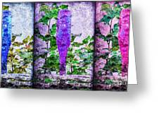 Cobalt Blue Purple And Magenta Bottles Collage Greeting Card by Andee Design