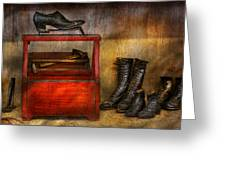 Cobbler - Life Of The Cobbler Greeting Card by Mike Savad