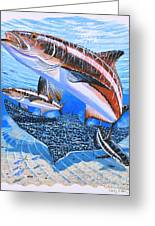 Cobia On Rays Greeting Card by Carey Chen