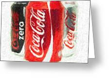 Coca Cola Art Impasto Greeting Card by Antony McAulay