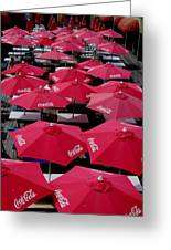 Coca Cola Red Umbrella's Greeting Card by Rick Todaro