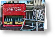 Coca Cola Vintage Cooler And Rocking Chair Greeting Card by Paul Ward