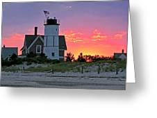 Cocktail Hour at Sandy Neck Lighthouse Greeting Card by Charles Harden