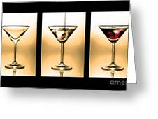 Cocktail Triptych In Gold Greeting Card by Jane Rix