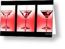 Cocktail Triptych In Red Greeting Card by Jane Rix